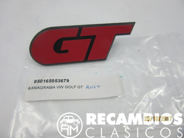 165853679 ANAGRAMA VW GOLF GT ROJO