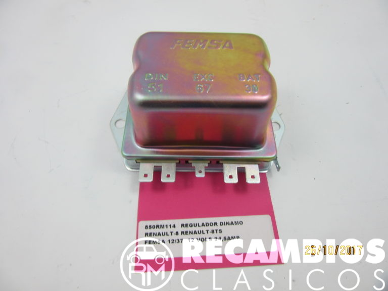 850RM114 REGULADOR DINAMO RENAULT-8 8TS FEMSA 12-37 12VOLS 24,5Amp